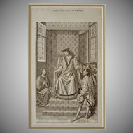Louis XII sur son Trone Steel Engraving after Jean Bourdichon  - 19th Century, France