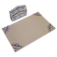 French Blue White Gilt Porcelain Desk Set Letter Rack Holder Organizer with Matching Ink Blotter Mat Corners Limoges