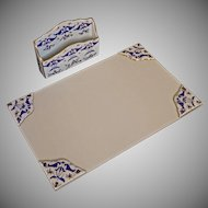 French Blue White Gilt Porcelain Desk Set Letter Rack Holder Organizer with Matching Ink Blotter Mat Corners Limoges
