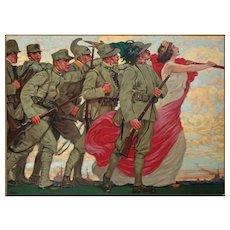 Leopoldo Metlicovitz Poster Sempre Avanti!! Liberty Style  - c. 1916, Italy
