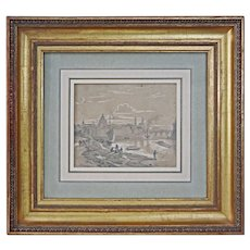 View along the River Elbe on Dresden signed A. Castell and dated 1858 - 19th Century, Germany - Red Tag Sale Item