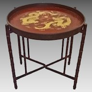 Chinoiserie Burgundy Red Gilt Lacquer Papier Mache Circular Tray Table with Faux Bamboo Legs Base - 19th Century, England