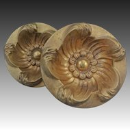 Pair of Gilt Bronze Curtain Tiebacks Circular Floral Design