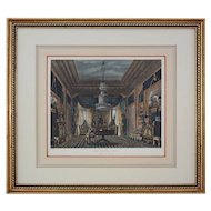 "Antique Aquatint The Blue Velvet Closet, Carlton House from ""The History of the Royal Residences"" by William Henry Pyne - 1819, England"