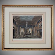 """Antique Aquatint The Blue Velvet Closet, Carlton House from """"The History of the Royal Residences"""" by William Henry Pyne - 1819, England"""