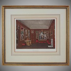"""Antique Aquatint Old Dining Room, Kensington Palace from """"The History of the Royal Residences"""" by William Henry Pyne - 1819, England"""