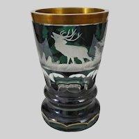 Bohemian Glass Beaker Goblet Etched Deer Duck Green Clear  Gilt Rim