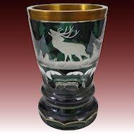 Bohemian Biedermeier Style Glass Beaker Green Clear Etched Deer, Forest