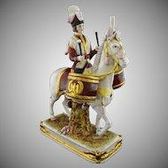 German Scheibe Alsbach Napoleonic Porcelain Figurine on Horseback Drummer Garde Imperial