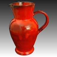 French Studio Pottery Red Glazed Faience Pottery Pitcher / Jug signed Casy La Turbie - 20th Century France