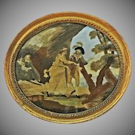 Antique School Girl Silk Embroidered Picture Pastoral Setting Courting Couple and Hermit Oval Gilt Wood Frame - c. 1780-1840