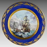 Battle of Trafalgar Cabinet Plate Raised Gilt Cobalt Signed Art Deco Period - 1920 to 1928, Germany