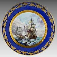 Battle of Trafalgar Cabinet Plate Raised Gilt Cobalt Signed Art Deco Period - 1920 to 1928, Germany