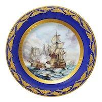 Battle of Trafalgar Cabinet Plate Cobalt Gilt Porcelain Paul Muller Selb - 1890-1917, Germany