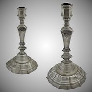 Pair Tall French Pewter Hexagonal Candlesticks Louis XV Style Provence Country - 20th Century, France