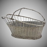 Vannerie Wine Basket / Caddy Silver Plated Christofle Style