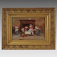 Antique Oil on Board Painting Fortune Teller signed Francisco Moles Spanish Segovia School - 1897, Spain