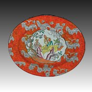 English Chinoiserie Platter Antique Orange English Large Oval Ashworth - c. 1862 to 1880, England