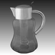 Silver Plate and Crystal Ice Insert Pitcher - 20th Century, West Germany