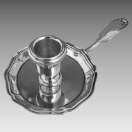French Christofle Silver Plate Chamber Candle Stick Holder Coquille Vendome Pattern Shell Design - 1935 to 1983, France