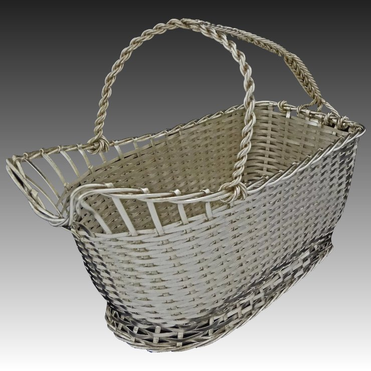Christofle Wine Basket / Caddy Vannerie Silver Plate - 20th Century ...