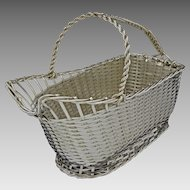 Christofle Wine Basket / Caddy Vannerie Silver Plate - 20th Century, France