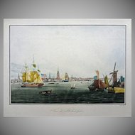 Garneray Vue de Philadelphie Ships, and American Flag Lithograph 1834 View of the Port of Philadelphia Framed - France