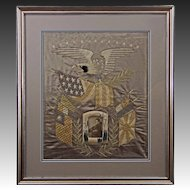 Silkwork Embroidered Picture Americana Eagle Flags Cruise of the Great White Fleet - circa 1908, Japan