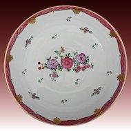 Chinese Export / Lowestoft Style Floral Enamel Painted Enamel Bowl Large