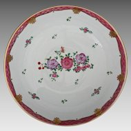 Chinese Export / Lowestoft Style Floral Enamel Painted Enamel Bowl Large