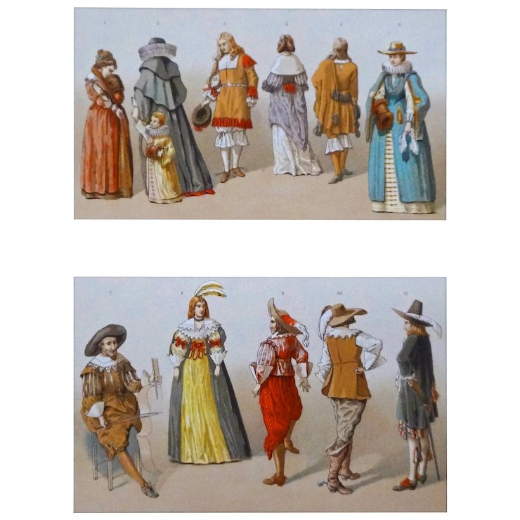 Dutch Costumes 17th Century Color Lithograph - 19th Century France  sc 1 st  Ruby Lane & Dutch Costumes 17th Century Color Lithograph - 19th Century France ...