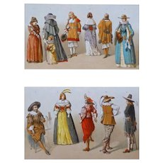 Dutch Costumes 17th Century Color Lithograph - 19th Century, France