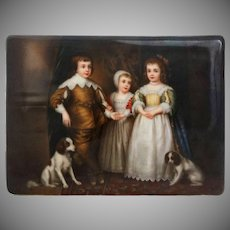 Porcelain Plaque Royal Children Painting Signed Wagner after Van Dyck - 19th Century, Dresden