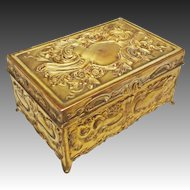 Jennings Brothers Rectangular Gilt Bronze Lidded Dresser Box / Casket JB 752 - c. 1900's, USA