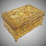 Jennings Brothers Rectangular Gilt Bronze Lidded Dresser Box / Casket JB 752 - c. 1900's, USA