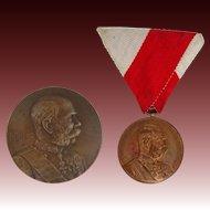 Two Antique Austro-Hungarian Empire Franz Josef Medals - 1898 and 1914, Austria