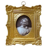 Antique Miniature Portrait Painting Neo Classical Danish Sculptor Bertel Thorvaldsen on Kongelig Porcelain - c. 1850, Denmark
