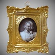 Antique Miniature Portrait Painting Neo Classical Danish Sculptor Bertel Thorvaldsen on Kongelig Porcelain - c. 1850, Denmark