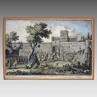 Antique Italian Color Copper Engraving Porta Pia ot. Viminalis Guiseppe Vasi - c. 18th Century, Italy