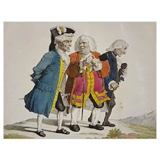 French Satyrical Etching P. A. Wille / Martinet Les Anciens Amis de college a la Promenade - 1815, France