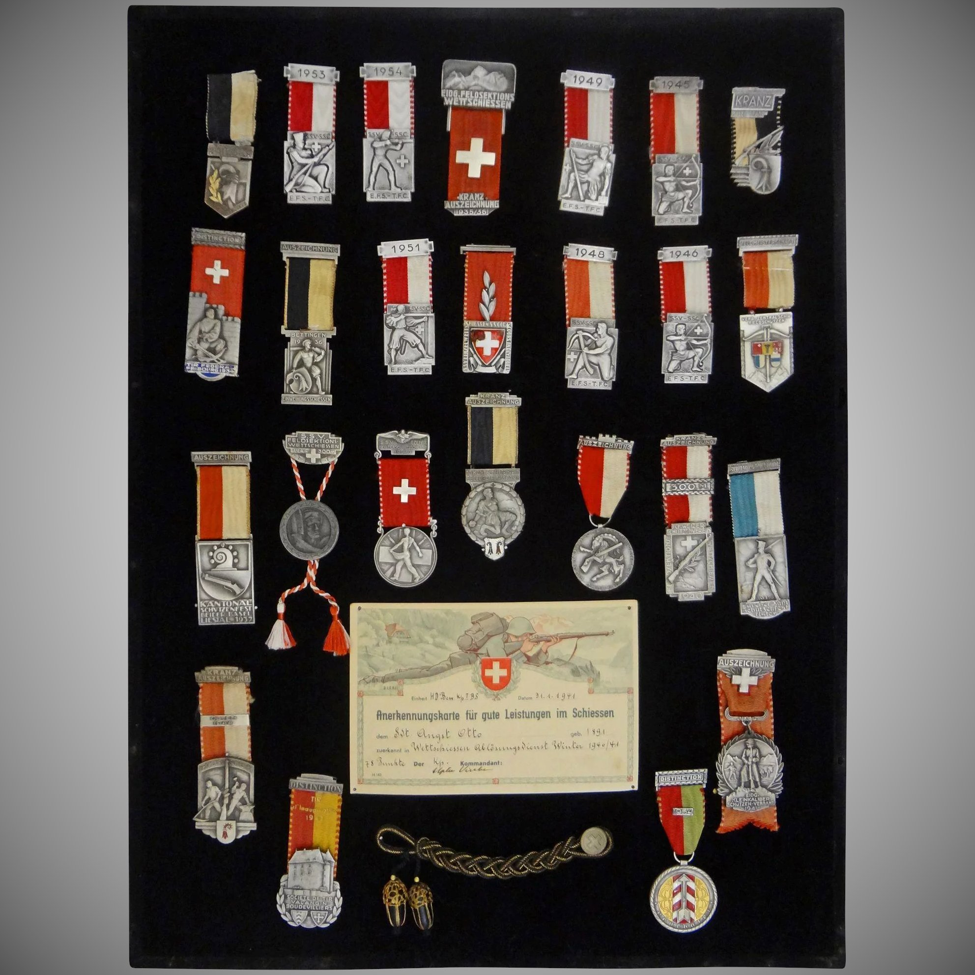 Swiss Marksmanship Medal Collection Framed - c. 1930\'s to 1950\'s ...