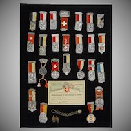 Swiss Marksmanship Medal Collection Framed - c. 1930's to 1950's, Switzerland