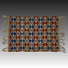 Embroidered Textile Persian Style Geometric Motif Woven Fringed