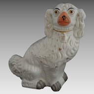"Staffordshire Large 13"" Spaniel Dog Gilt White Orange Muzzle - c. 19th Century, England"