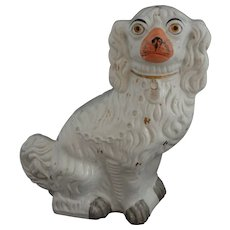 "Staffordshire Large 13"" Spaniel Dog Gilt White Orange Muzzle - c. 19th Century, England - Red Tag Sale Item"