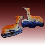 Pair Staffordshire Recumbent Dogs Inkwells Marked - c. 20th Century, England