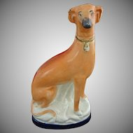 Staffordshire Style Hound Dog Pottery Figurine