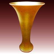 Large Iridescent Art Glass Gold / Dore Large Flare Vase Lundberg Studios Signed - USA