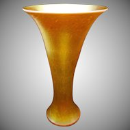 Large Iridescent Art Glass Gold / Dore Large Flare Vase Lundberg Studios Signed - USA