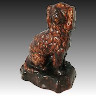 Americana Yellow Ware Stoneware Pottery Spaniel Dog Doorstop Figure Rockingham Glaze - 19th Century, USA